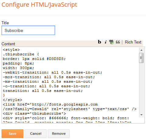 Configure HTML/Java Script in Blogger.com