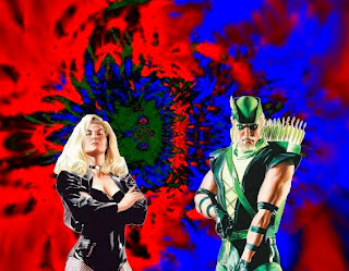 Black Canary and Green Arrow with colorful background