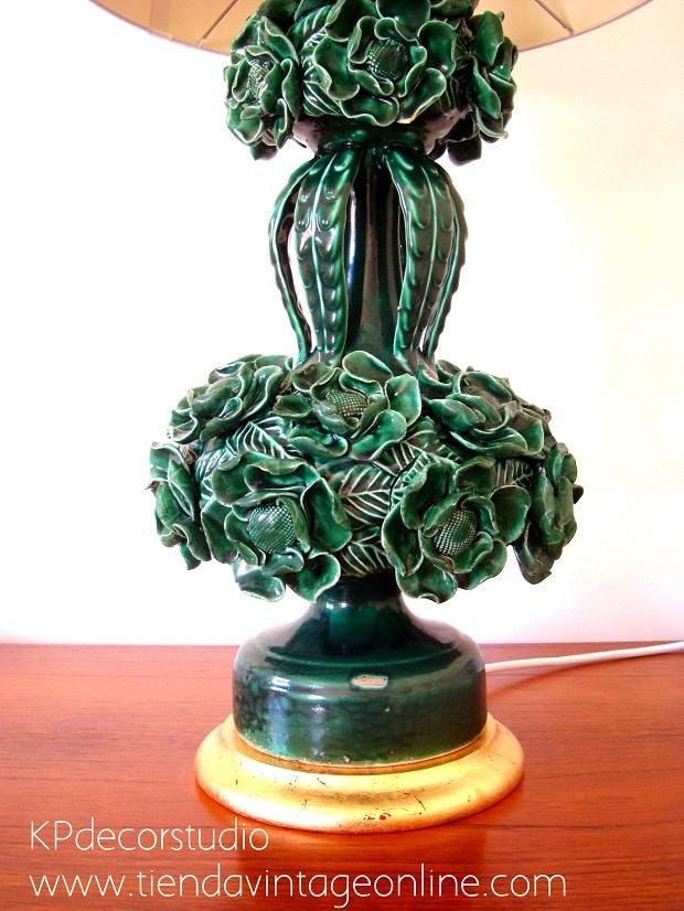 Lámparas manises restauradas en buen estado verde esmeralda