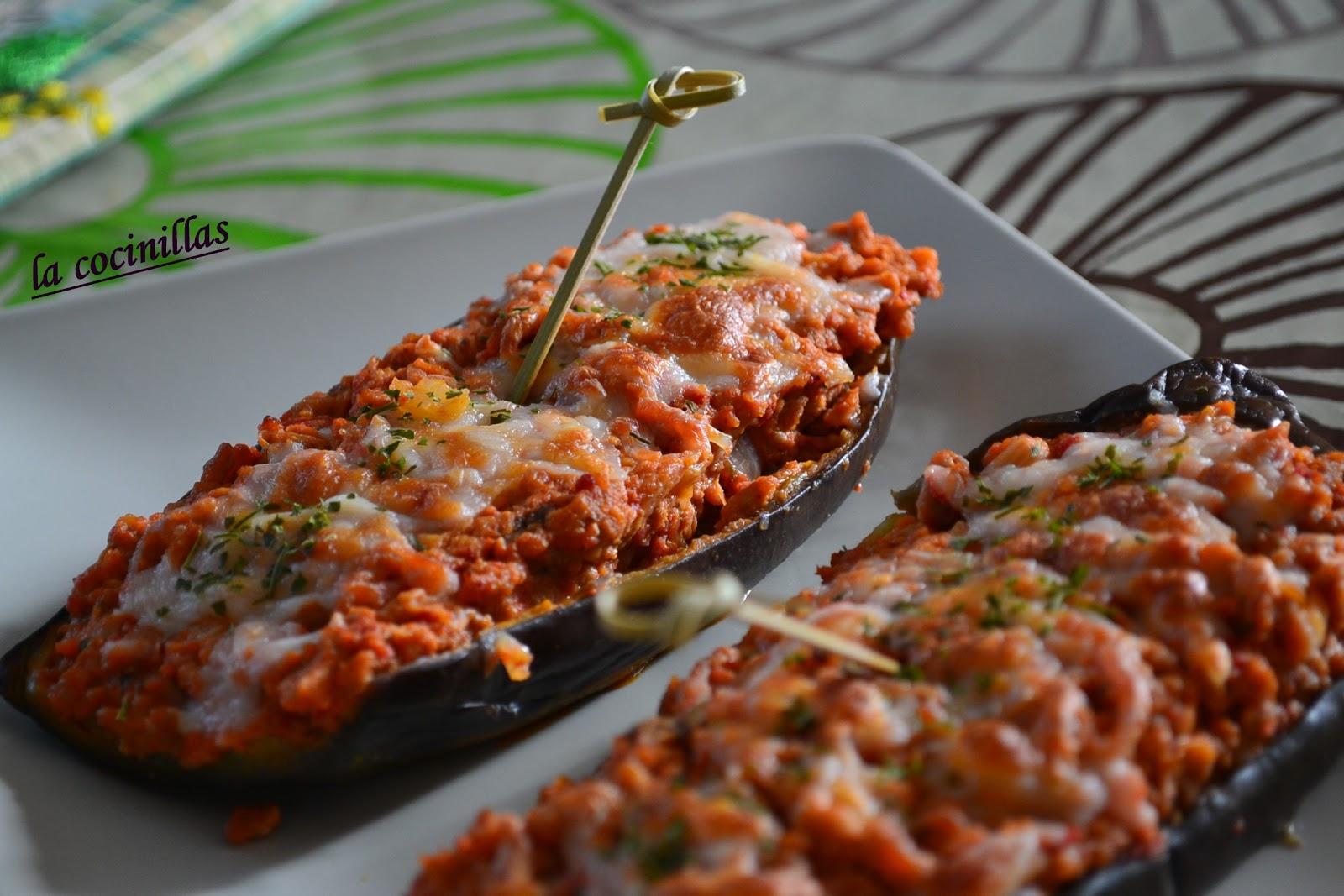 Berenjenas rellenas de carne picada y sobrasada la - Berenjena rellena de carne ...