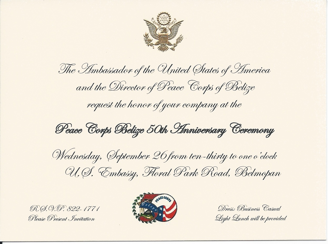 Our peace corps adventure peace corps 50th anniversary celebration the official invitation from the us embassy stopboris