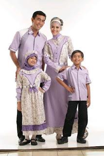 Gamis Batik Sarimbit Keluarga Lavender Contoh Model Baju Batik Lebaran Terbaru