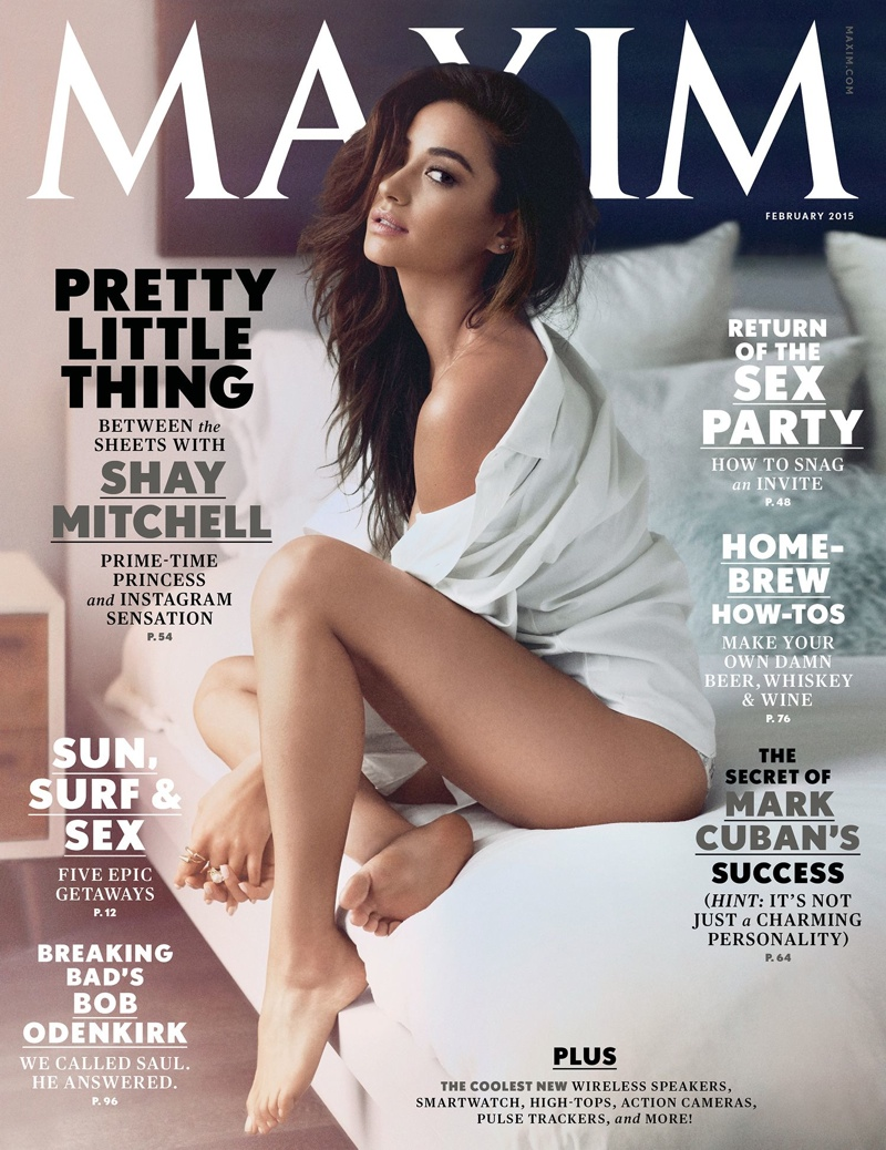 Shay Mitchell strips down to lingerie for Maxim's February 2015 cover shoot