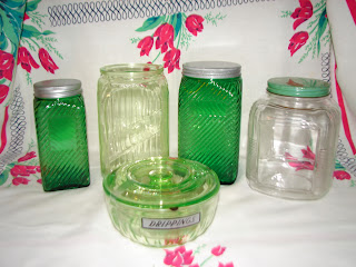 Anchor Hocking hoosier green depression canister