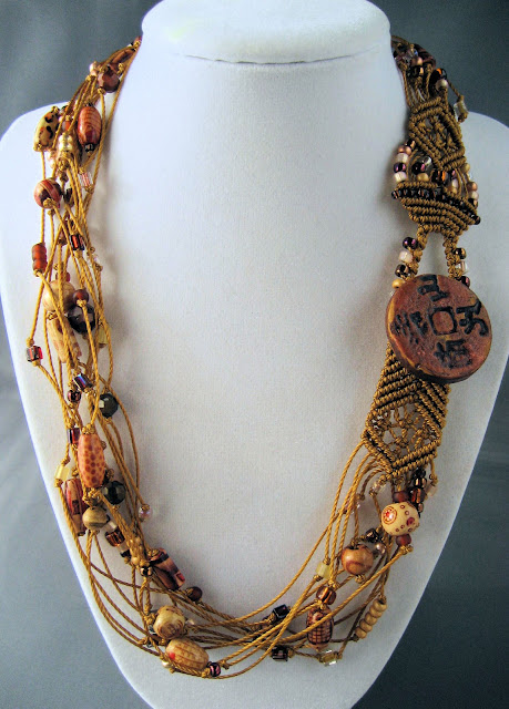Multiple strand necklace with knotting by Knot Just Macrame