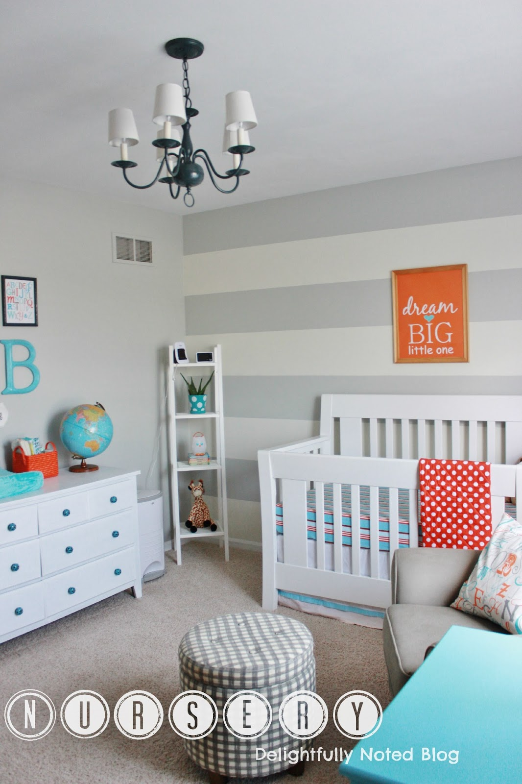 Finally our baby boy 39 s aqua orange grey nursery for Baby room decoration boy
