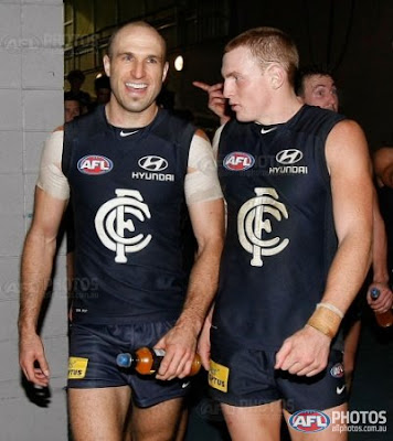 AFL, Carlton, Chris Judd and Mitch Robinson celebrating victory