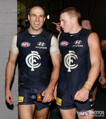 AFL, Carlton, Chris Judd and Mitch Robinson celebrating victory