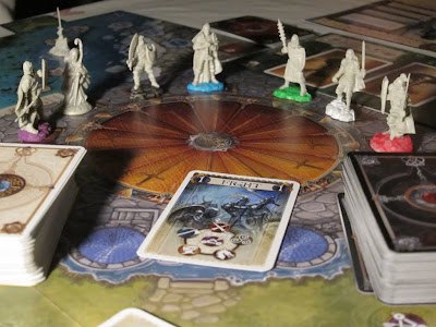 Shadows Over Camelot - A close up of the figures and part of the board