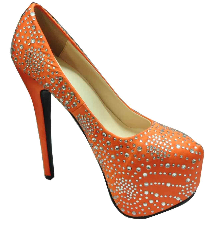 orange high heel shoes fashionate trends