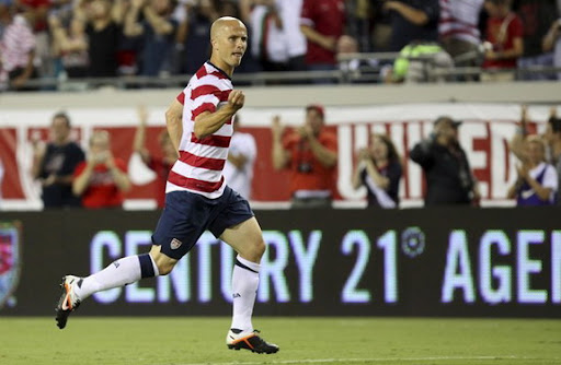 USA midfielder Michael Bradley celebrates after scoring against Scotland
