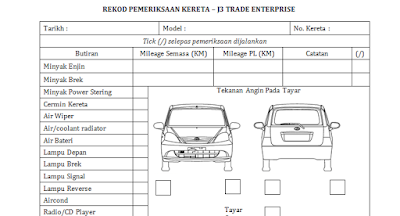 Tawau Car Rental inspection list