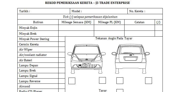 Rental Car Inspection Form Template