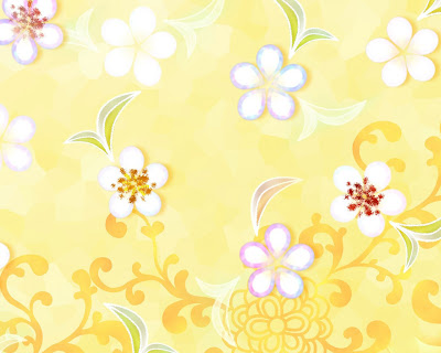 Spring flowers yellow background