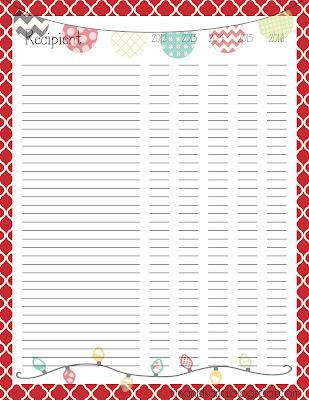 {Freebie} Christmas Card List Printable  Christmas Card List Template