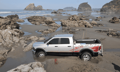 2014 Ram Prototype Power Wagon Get's Stuck In Sea During Photo Shoot