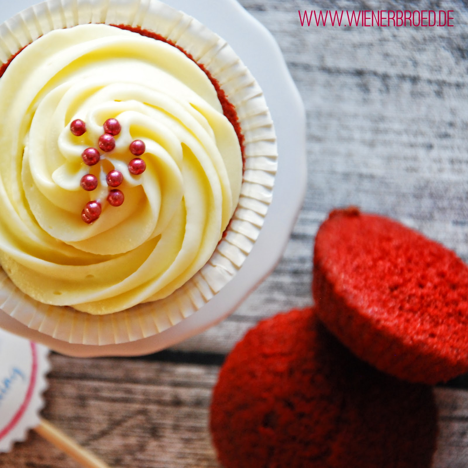 Red Velvet Cupcake with white chocolate frosting