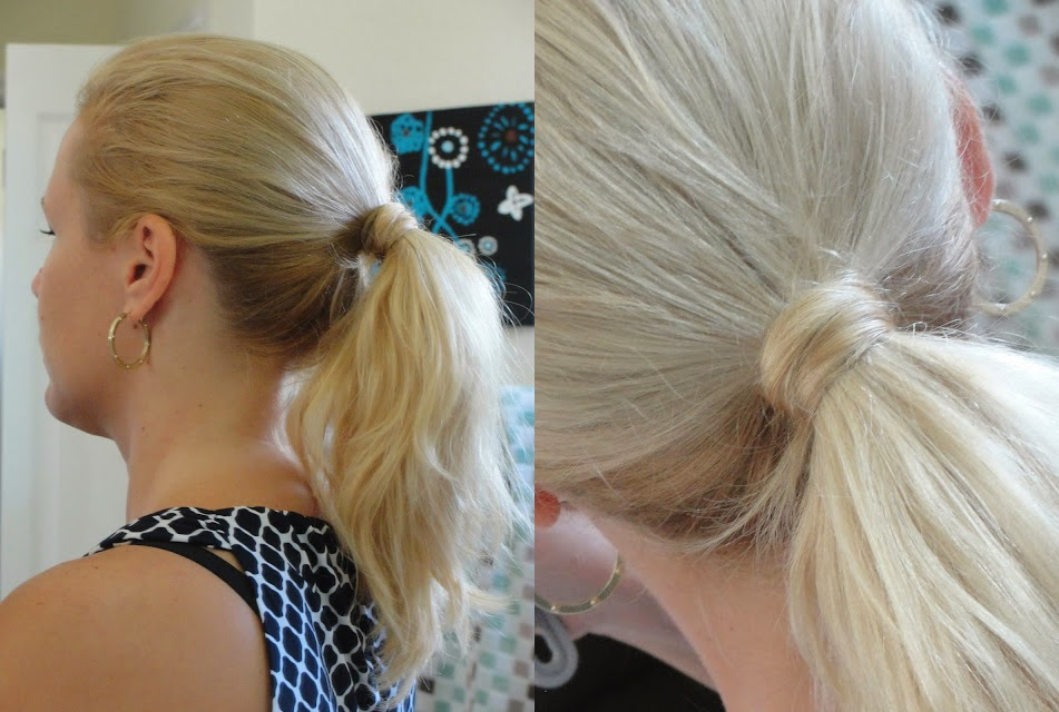 Cover up the ponytail with your own hair over the top of an elastic band