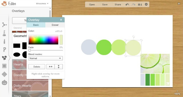 Tutorial on making a strip of colors in PicMonkey.