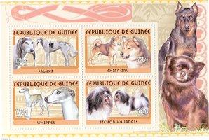 2002年ギニア共和国 サルーキ 柴  ウィペット ビション・ハバネーゼの切手シート