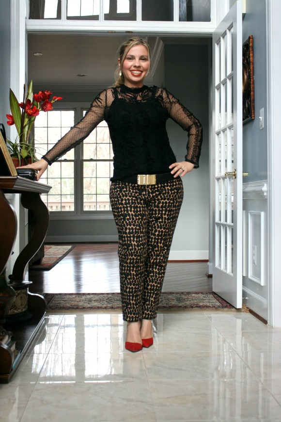 Sheer Black Embroidered Blouse from Zara, Tiger Print Pants from Loft, Black and Red Vamp High Heel from Zara, Jewel and Metal Closure Clutch from South Moon Under, Gold Studded Waist Belt from BCBGMAXAZRIA
