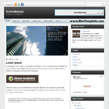 NewsRoom blogger template. magazine style template blogger. featured content blogger template.