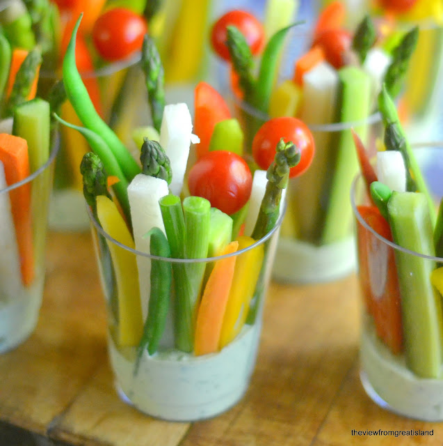 Veggie Dip Cups with Green Goddess Dip