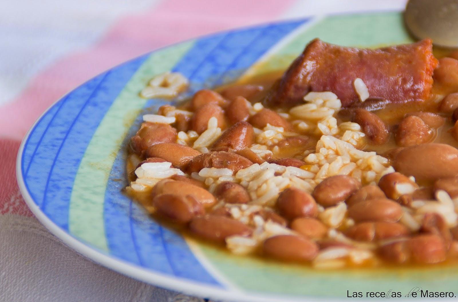 Las recetas de masero jud as pintas con arroz - Judias pintas con arroz olla express ...