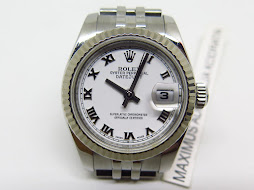 ROLEX OYSTER PERPETUAL LADY DATEJUST WHITE ROMAN DIAL 26mm - ROLEX 179174 - SERIAL M YEAR 2007