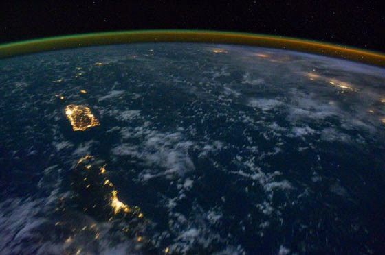 Eastern Caribbean at Night, taken from the International Space Station; photo by NASA's Marshall Space Flight Center, used under a CC BY-NC 2.0 license.