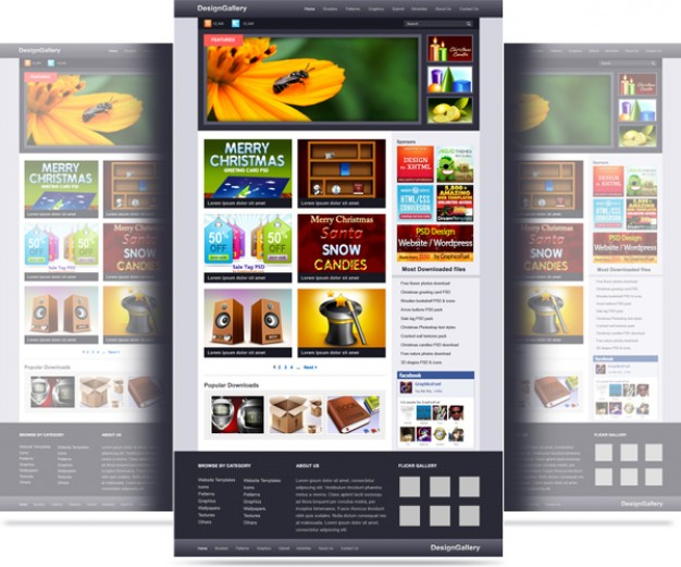 psd template website gallery free download - WEB DESIGN PSD
