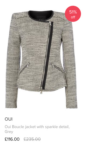 Love The Sales oui boucle jacket with sparkle detail