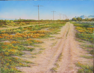 pastel painting, arizona, desert road, poppies, catalina mountains