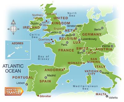 Westeuropa Karte Politisch Bild