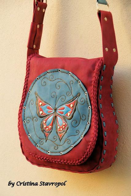 geanta handmade cu fluturas