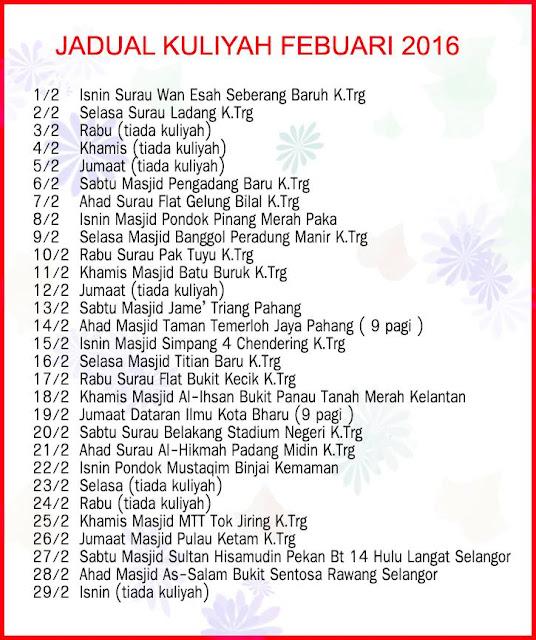 Jadual Kuliah Ustaz Azhar Idrus Bulan FEBRUARI 2016