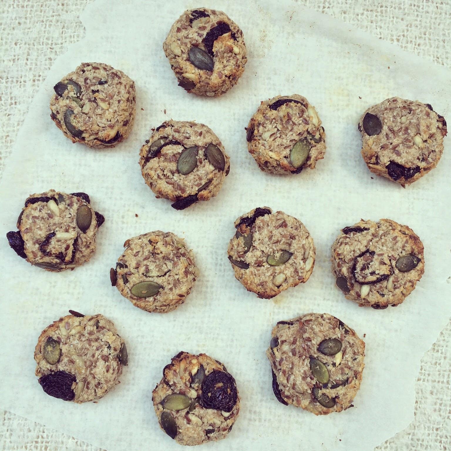 cookies banane coco graines cerises séchées