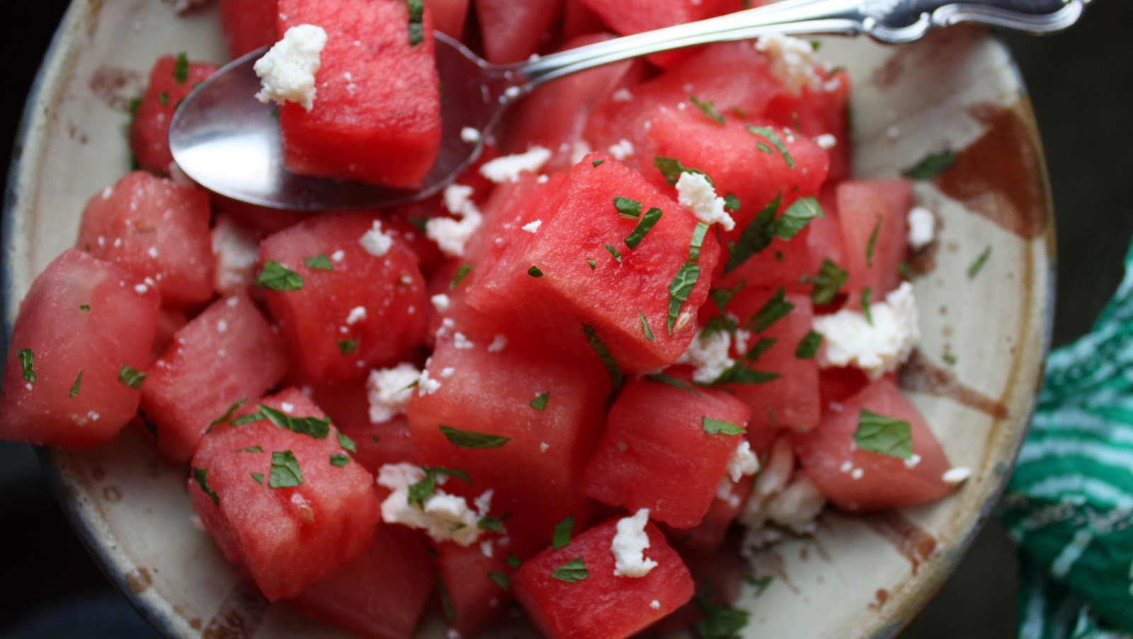 Fat and Happy Blog: Watermelon Salad with Mint and Queso Fresco