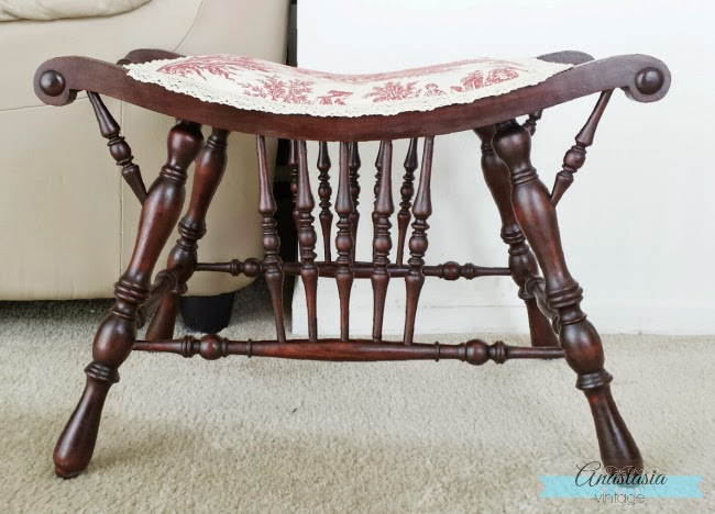 French Country Victorian Red Toile Upholstery Seat Makeover Mahogany Wood Restoration