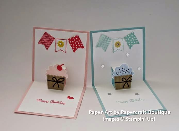 Birthday pop-up cards - one for a girl, and the other for a boy.