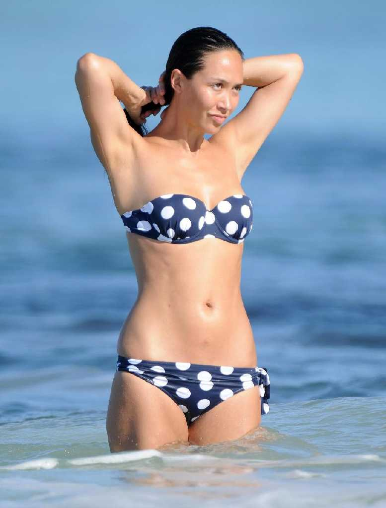 and white polka-dot bikini