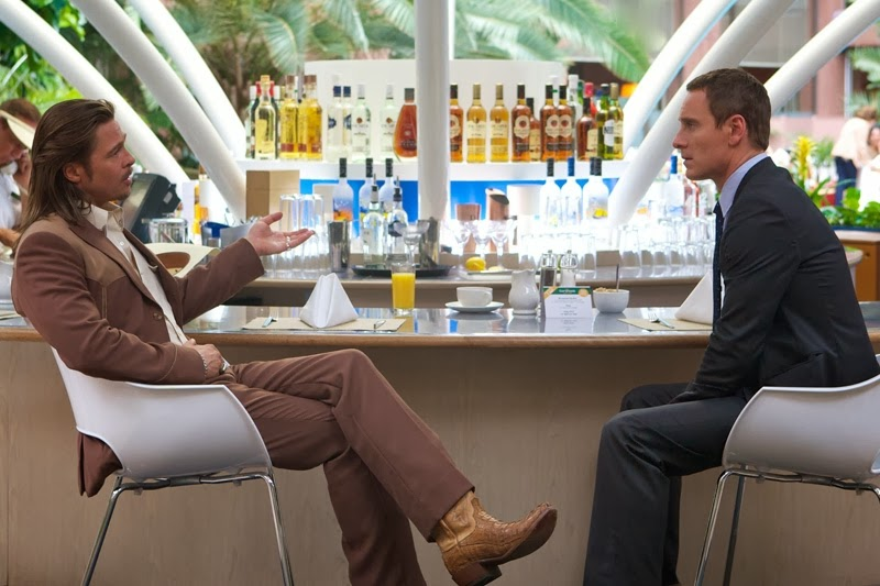 "Brad Pitt (left) as Westray and Michael Fassbender as the ""Counselor"", in The Counselor, Directed by Ridley Scott"