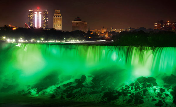 Niagara Falls, St. Patrick's Day, holiday, green