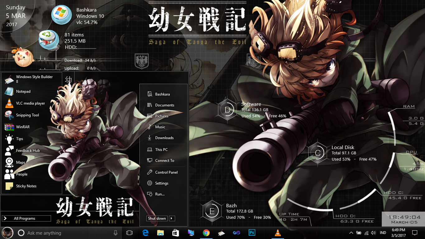 Theme Youjo Senki For Windwos 10 Version 1607 Glance Look The Same As Ao No Exorcist