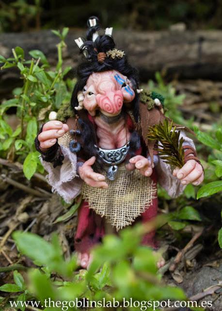 Meg Berriebag la curandera goblin ooak muñeca fantasía