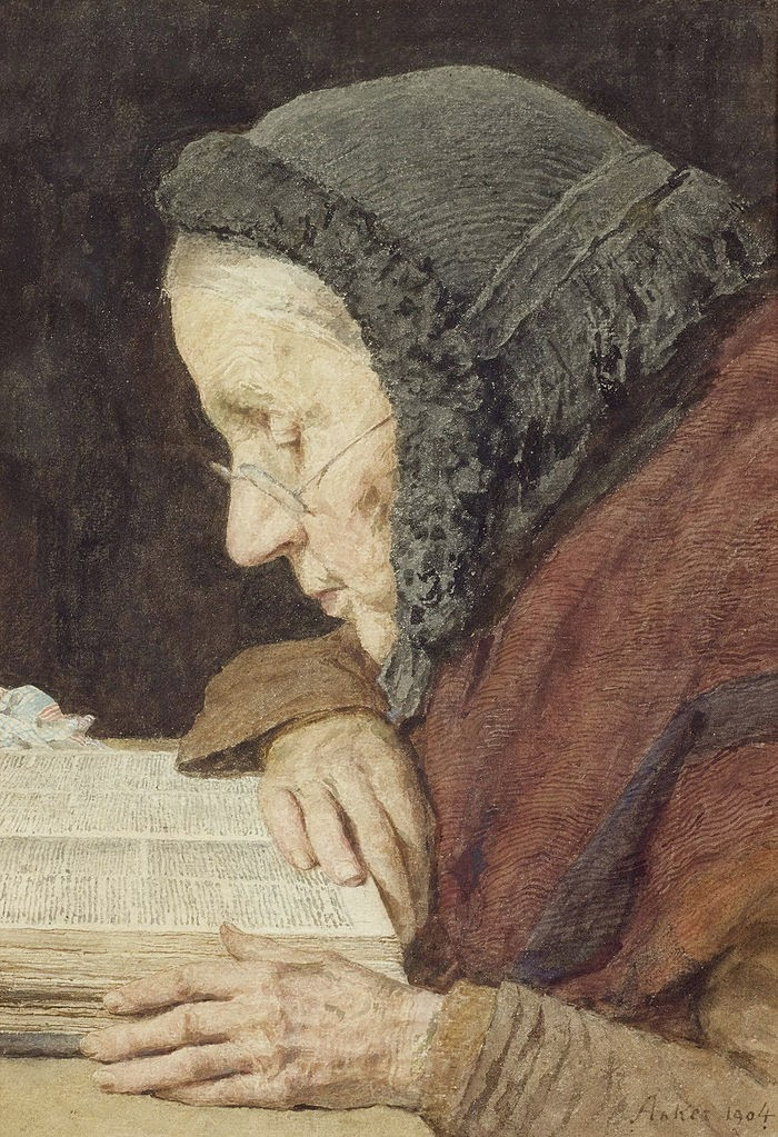 old woman reading,reading a book,reading painting