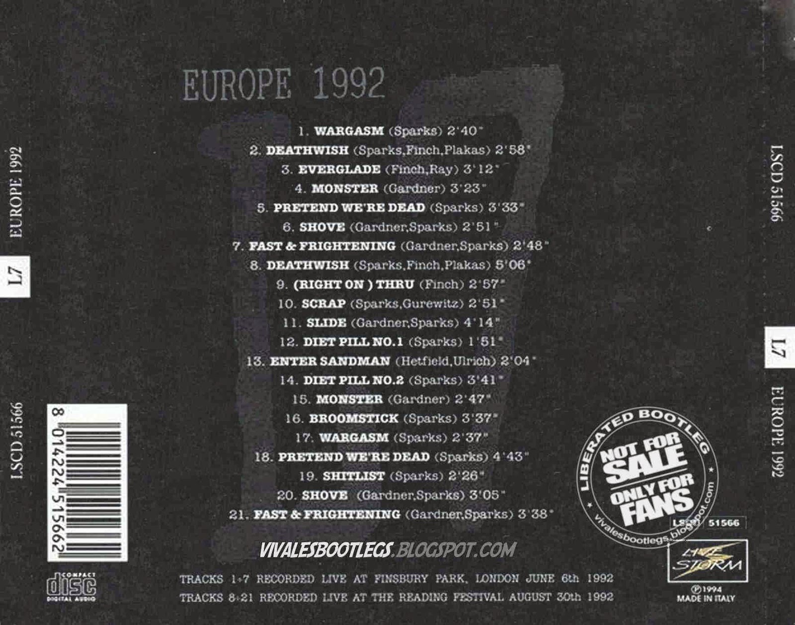 L7 Europe 1992 Back Cover