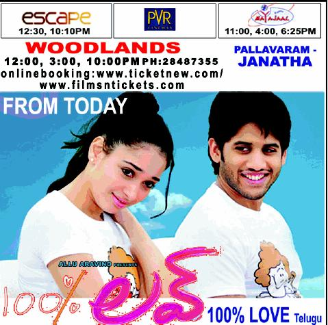 100 % Love Chennai Theaters List