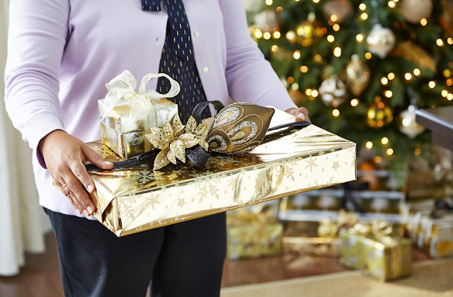 Gold wrapping paper and ornament topper   CANVAS Christmas Collection   RamblingRenovators.ca