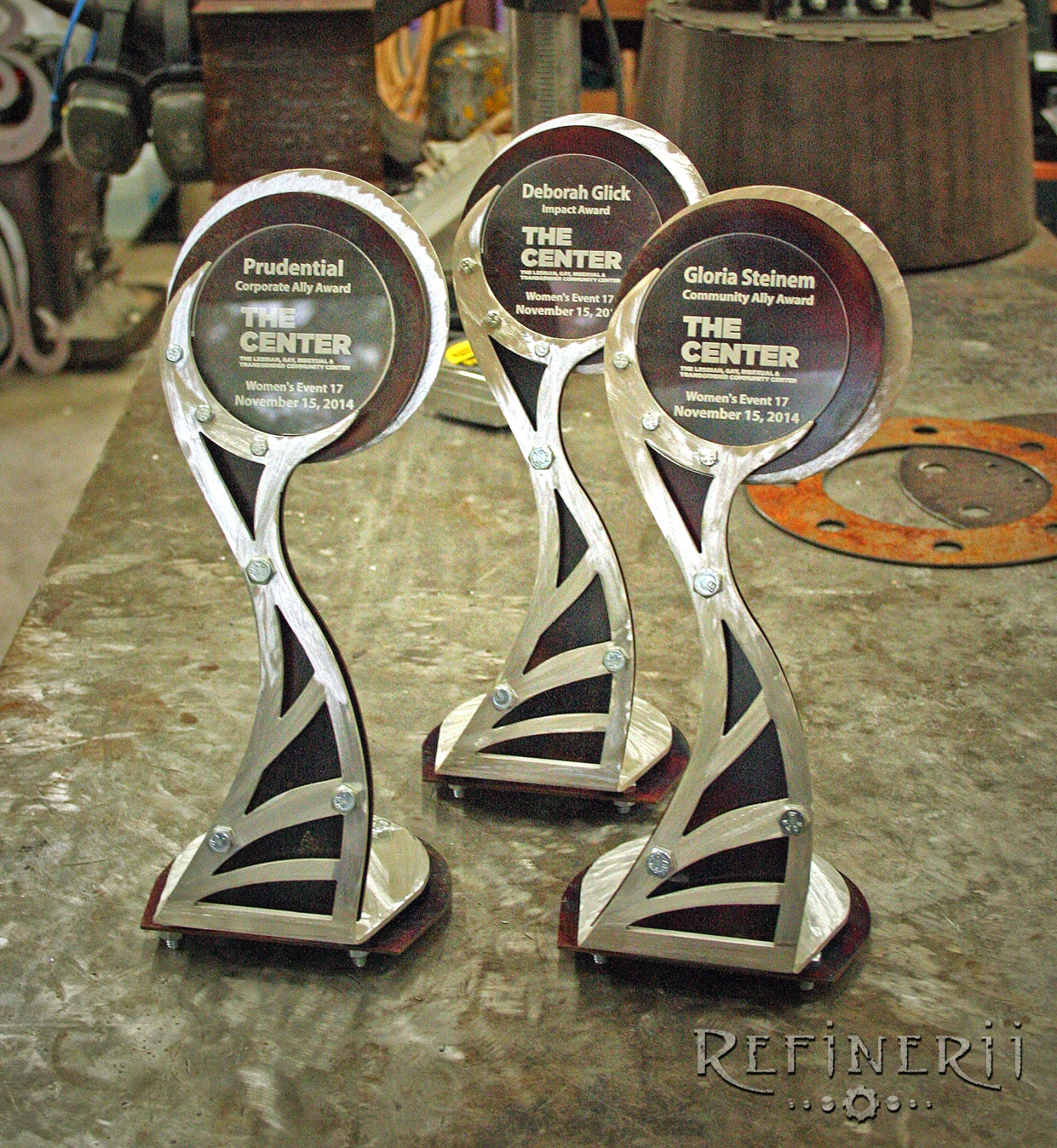Custom metal trophies created for the Women's Event in New York City